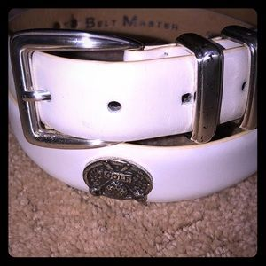 Accessories - Golf Belt - White Leather with Silver accents - 40